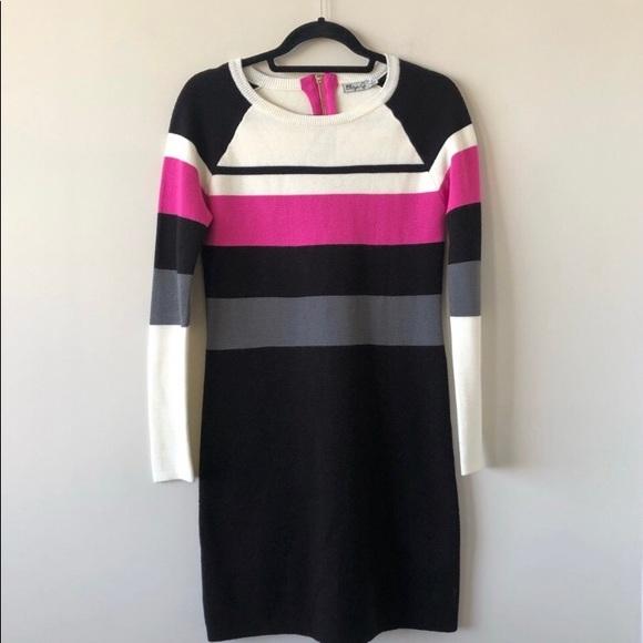 Eliza J Colour Block Bodycon Knit Sweater Dress